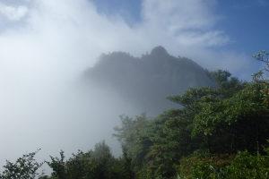 霧の中から前嵓の岩峰